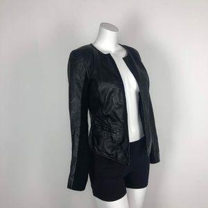 Halogen 100% Leather Black Moto Jacket Blazer